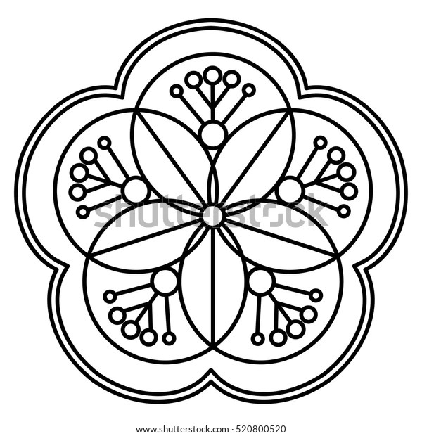 Simple Flower Mandala Pattern Coloring Book Stock Vector