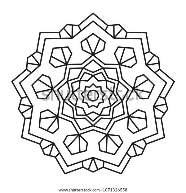 Simple Mandala Shape Coloring Decoration Geometric Stock