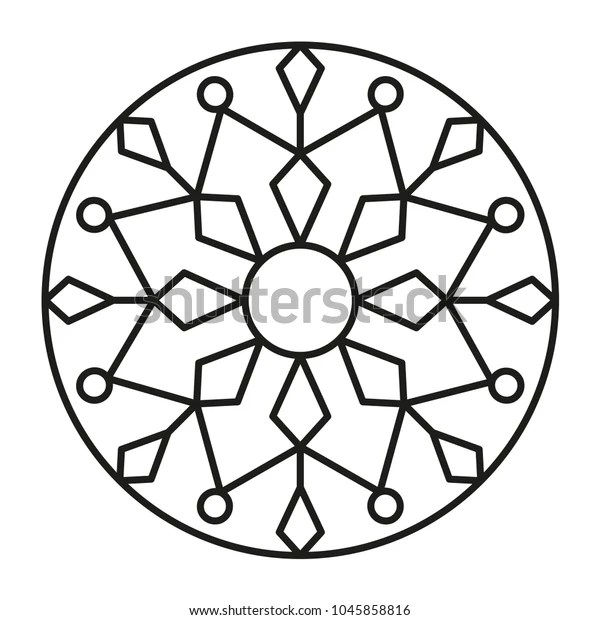 Simple Mandala Shape Coloring Geometric Ornament Stock