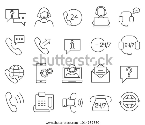 Simple Set Customer Service Related Vector Stock Vector
