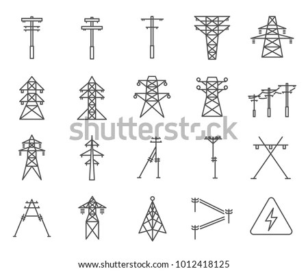 Simple Set Electric Tower Related Vector Stock Vector