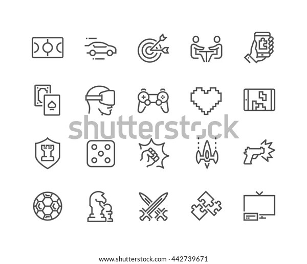 Simple Set Games Related Vector Line Stock Vector (Royalty