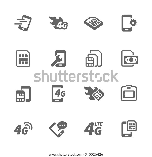 Simple Set Sim Cards Related Vector Stock Vector (Royalty