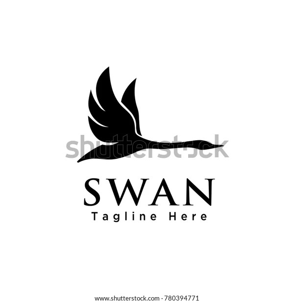 simple silhouette flying swan