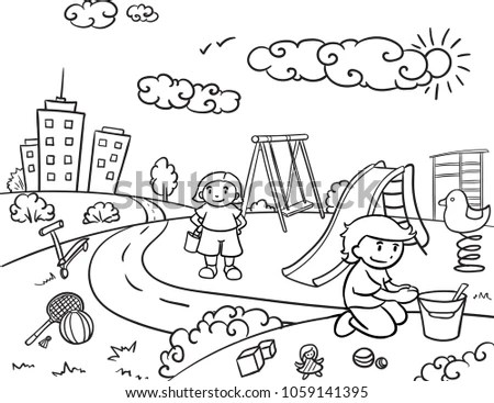 Sketch Children Active Outdoor Recreation Concept Stock