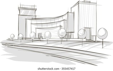 Sketch Drawing Modern Architecture Vector Image Stock Vector Royalty Free 355457417