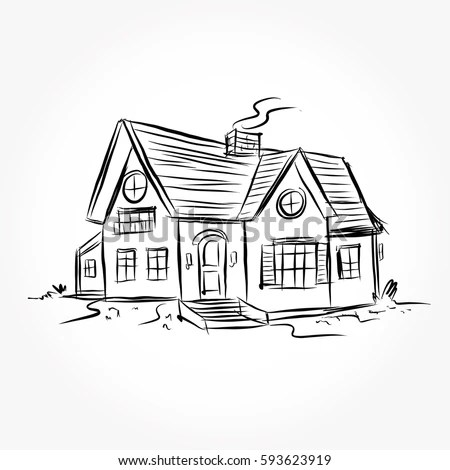 Sketch House Architecture Drawing Free Hand Stock Vector