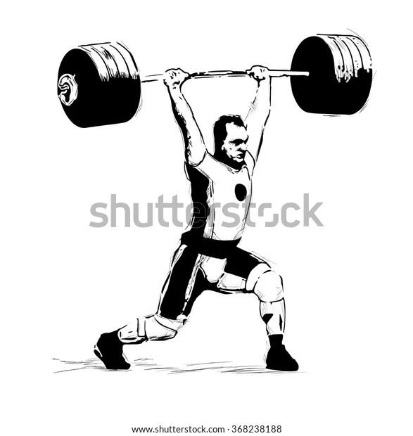 Sketch Illustration Weightlifter Clean Jerk Stock Vector (Royalty Free) 368238188