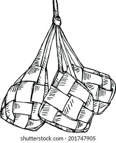 Gambar Ketupat Hitam Putih : gambar, ketupat, hitam, putih, Sketch, Ketupat, Stock, Vector, (Royalty, Free), 201747905