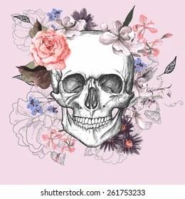 Imágenes Fotos De Stock Y Vectores Sobre Calaveras Y Flores