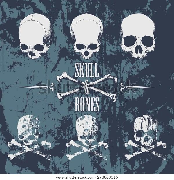 Skulls Cross Bones On Grunge Background Stock Vector Royalty Free 273083516