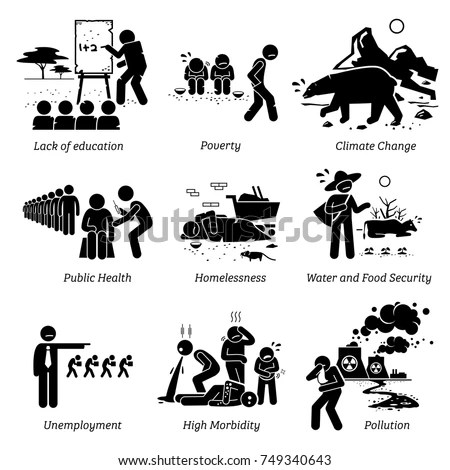 Social Issues Critical Problems Pictogram Icons 스톡 벡터(사용료