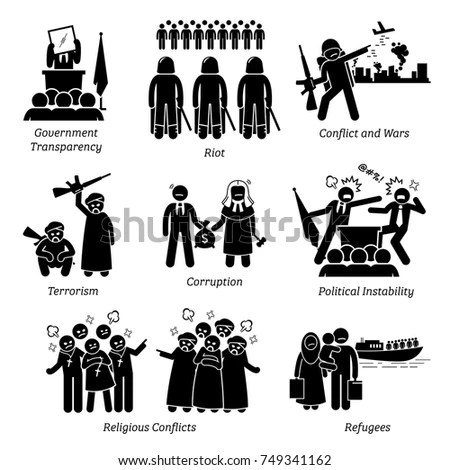 Social Issues World Problems Pictogram Icons Stock Vector