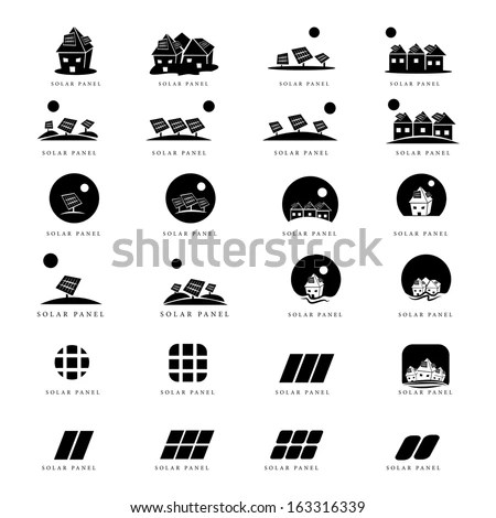 Solar Panel Icons Set Isolated On Stock Vector (Royalty