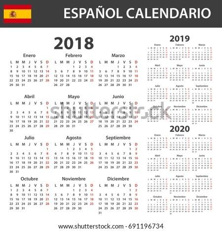 Spanish Calendar 2018 2019 2020 Scheduler Stock Vector