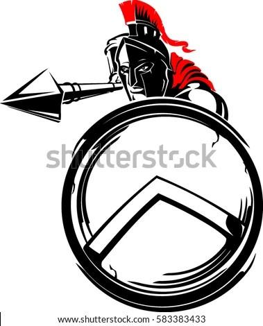 Spartan Warrior Shielded Attack Stock Vector (Royalty Free