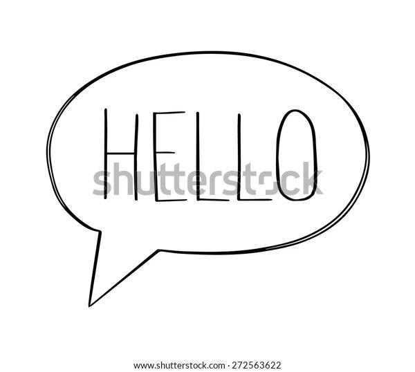 Speech Bubbles Hello Word Hand Drawn Stock Vector (Royalty