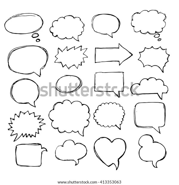 Speech Thought Speaking Hand Drawn Bubbles Stock Vector
