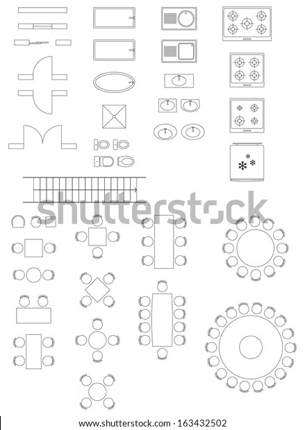 Standard Symbols Used Architecture Plans Icons Stock