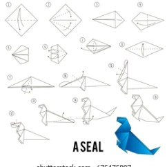 Origami Paper Crane Diagram Msd 6al 2 Wiring Instructions Stock Vectors Images Vector Art Step By How To Make A Seal