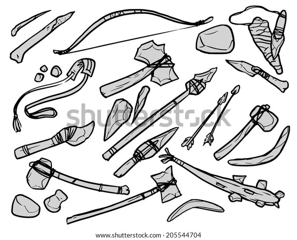 Stone Age Weapons Black White Contour Stock Vector