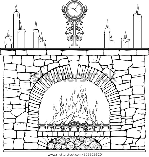 Stone Fireplace Clock Candels Coloring Page Stock Vector