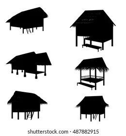 Beach Huts Silhouette Images, Stock Photos & Vectors