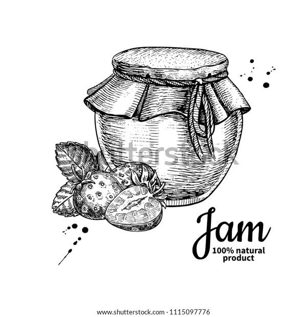 Strawberry Jam Glass Jar Vector Drawing Stock Vector
