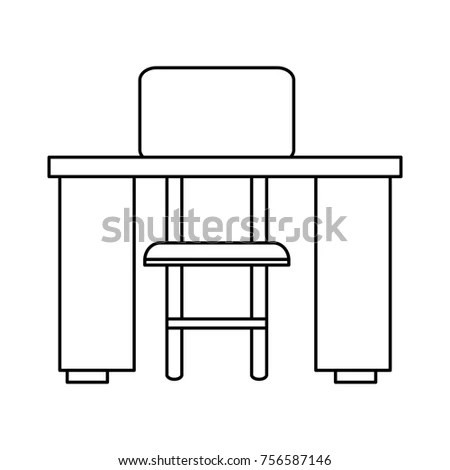 study desk and chair walmart lap stock vector royalty free 756587146 shutterstock with