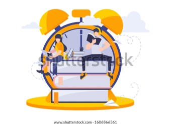 Study Time Vector Illustration Flat Design Stock Vector Royalty Free 1606866361