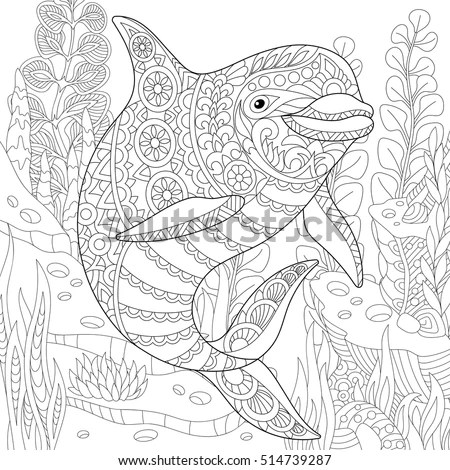Immagine vettoriale a tema Stylized Cute Dolphin Swimming