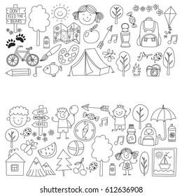 summer camp doodles Stock Vectors, Images & Vector Art
