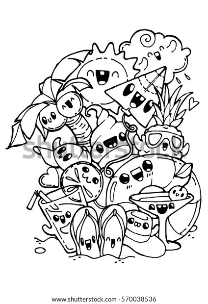 Summer Doodles Coloring Pages Kids Adult Stock Vector