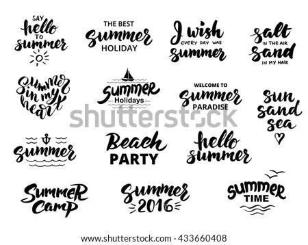 Summer Hand Drawn Brush Letterings Summer Stock Vector