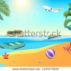 Air Travel Beach Chairs Blue Leather Swivel Chair Summer Sea Vacation Holiday Tropical Stock Vector Royalty Sunlight Coconut Trees Umbrella Ball