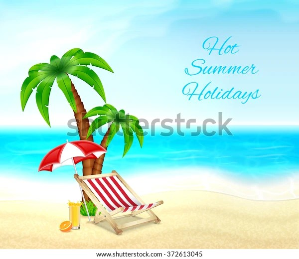 Summer Vacation Background Palm Tree Deck Stock Vector Royalty Free 372613045