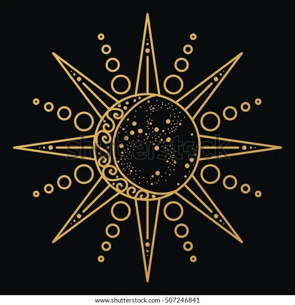 sun moon logo astronomical