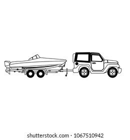Truck Towing Boat Images, Stock Photos & Vectors