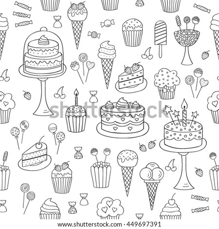 Sweets Hand Drawn Doodle Vector Seamless 스톡 벡터(사용료 없음