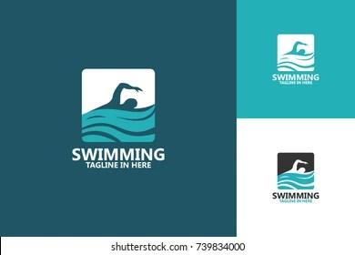 swimming logo images stock