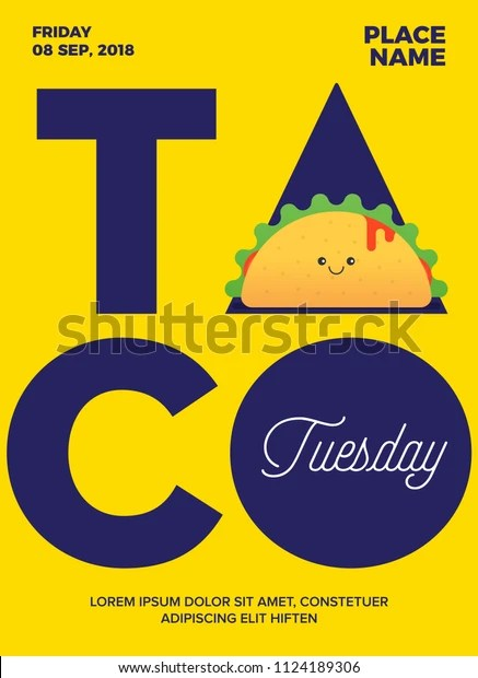 Happy Taco Tuesday Images : happy, tuesday, images, Tuesday, Concept, Posterblogsocialad, Happy, Stock, Vector, (Royalty, Free), 1124189306