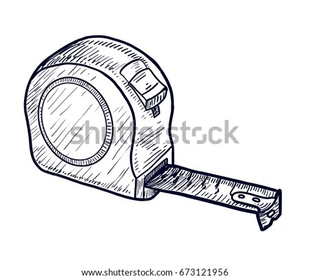 Tape Measure Illustration Drawing Engraving Ink Stock