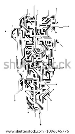 Tattoo Shaped Circuit Board Ornament Good Stock Vector