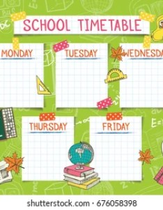 Template school timetable for students or pupils vector illustration includes many hand drawn elements of also images stock photos  vectors shutterstock rh
