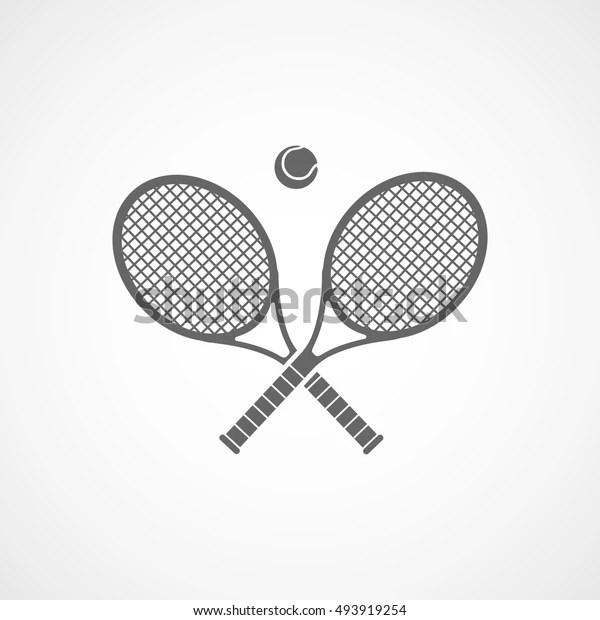 Tennis Racquet Cross Flat Icon On Stock Vector (Royalty