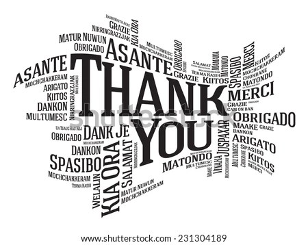Thank You Word Cloud Different Languages Stock Vector