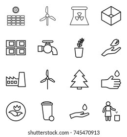 hight resolution of thin line icon set sun power windmill nuclear box panel house