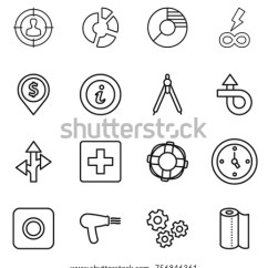 Power Circle Diagram Sun S Core Thin Line Icon Set Target Audience Stock Vector Royalty Free Infinity Dollar Pin