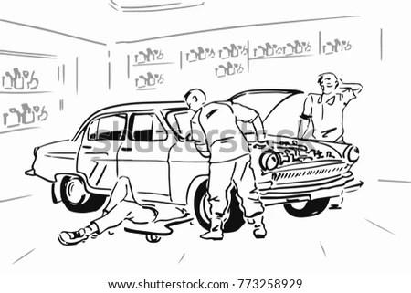 Three Men Repair Car Garage Black Stock Vector (Royalty