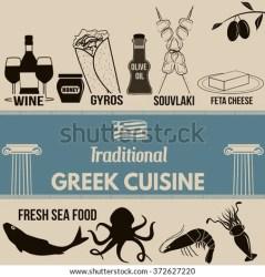 greek poster cuisine traditional vector shutterstock symbol elements